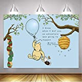 LXN Cartoon Classic Winnie the Pooh Backdrop Blue Hot Air Balloons Background Kids Birthday Party Winnie the Pooh Background 7x5ft