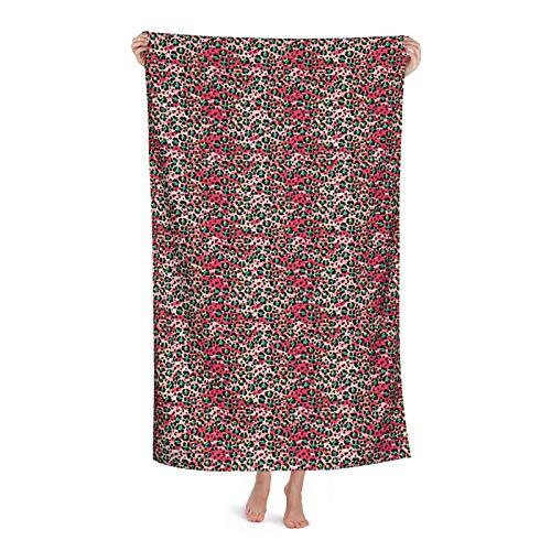 Toalla de playa colorida de piel de leopardo abstracta, toalla de playa de gran tamaño, 132 x 81 cm, uso como yoga, viajes, camping, gimnasio, piscina, sillas de playa