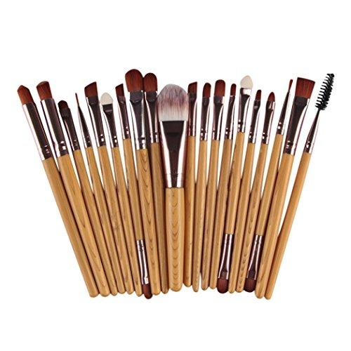 Fulltime® 20 pcs/set pinceau de maquillage Outils de maquillage Kit de laine Make Up Brush Set (Kaki)