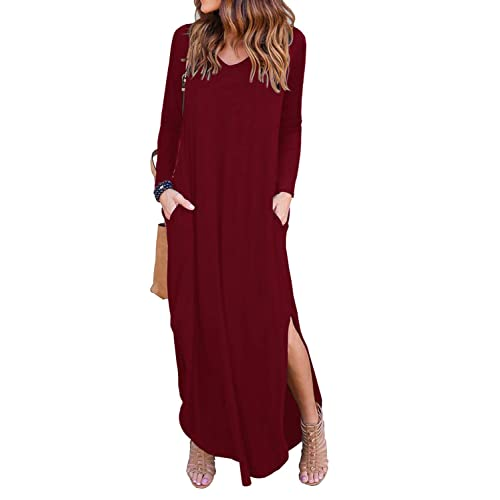 f0501e020587 GRECERELLE Women's Casual Loose Pocket Long Dress Short Sleeve Split Maxi  Dresses