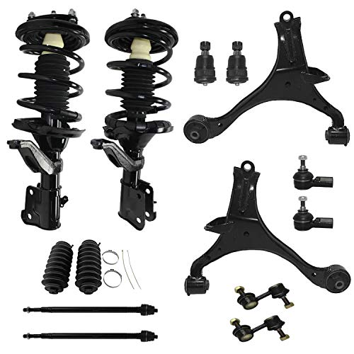 Detroit Axle - Front Struts + Lower Control Arms + Ball Joints + Sway Bars + Tie Rods Replacement for Honda Civic Acura EL - 14pc Set