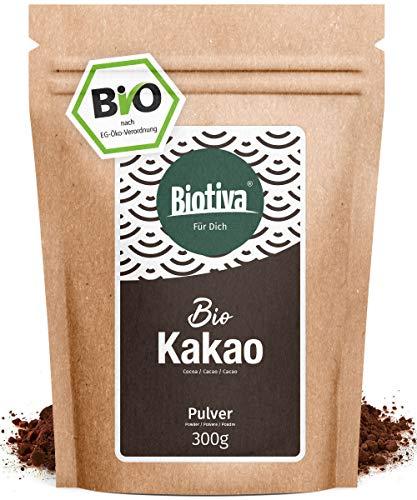 Polvere di cacao biologico (300g) -/100% di cacao puro - de-oliato (grassi 11%) - in sacchetti richiudibili senza additivi - alta qualità Biotiva