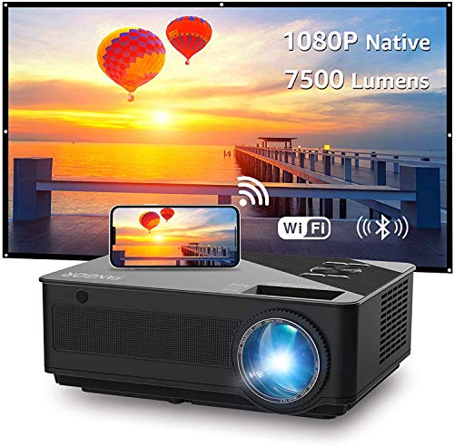 Projector, FANGOR Native1080P HD Projector with Wifi, 7500 Lux/250'' Display/ 8000:1 Contrast, Smart Home cinema Bluetooth Projector Support Wireless Mirror to iPhone/iPad/Android Phones