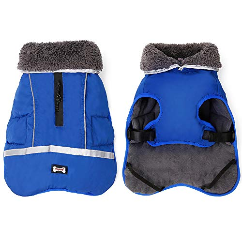 Waterproof Windproof Dog Cold Coats-Warm Dog Clothes Clothing Jackets for Small Large Medium Girl Boy Outdoor Indoor Activities- Reflective Retro Style Dog Vest Winter Coat