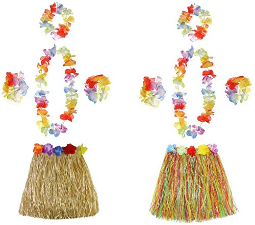 Ungfu Mall 2 Sets Hawaiian Hula Grass Skirt Flower Bracelets Headband Necklace Garland Hawaiian Leis Fancy Dress Ladies For Tropical Beach Party Hen Night With 40cm