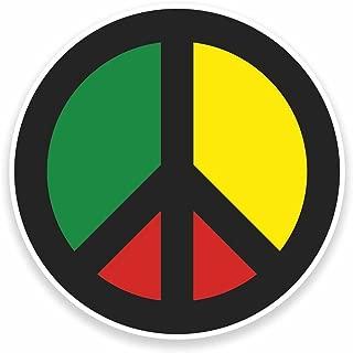 Rasta Peace Symbol Vinyl Stickers 2 pack 4 INCH