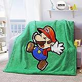 WFQTT Super Mario - Manta de forro polar ultra suave y cálida de franela para cama, sofá o silla (1,60 x 50 cm)