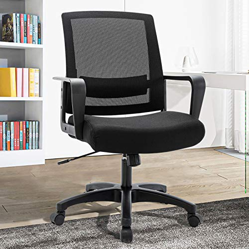 STARSPACE Mesh Office Chair, Thicken Wider Seat Mid-Back Computer Desk Chair Adjustable Height Swivel Base Swing Modern Task Chair for Home Office Conference Room, Black