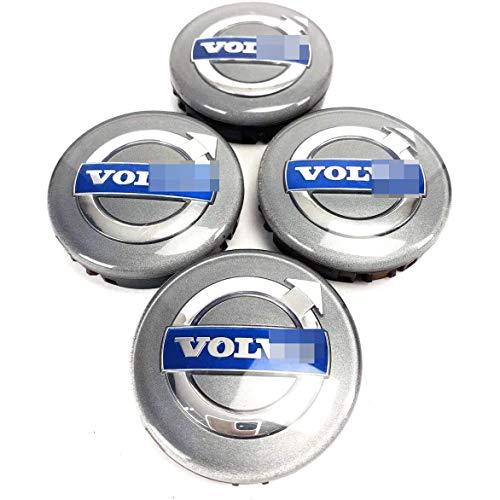 YZZR Tapas para Llantas,para Volvo C70 S40 V50 S60 V60 V70 S80 de 64mm 4pcs con Logo Compatible Coche Centro de Ruedas Emblema Prueba de Polvo Pegatina Rueda Centro Cubierta