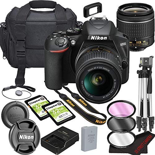 Nikon D3500 DSLR Camera Bundle with 18-55mm VR Lens | Built-in Bluetooth |24.2 MP CMOS Sensor | |EXPEED 4 Image Processor and Full HD Videos + 64GB Memory(17pcs)