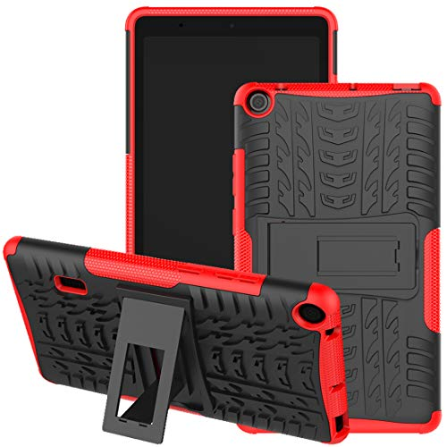 HUAWEI MediaPad T3 7 Wifi Case, Jhxtech Armor Style Hybrid PC + TPU Protective Case with Stand for Huawei MediaPad T3 WiFi 179mm 7.0 Inch Tablet Cover Protection (red)