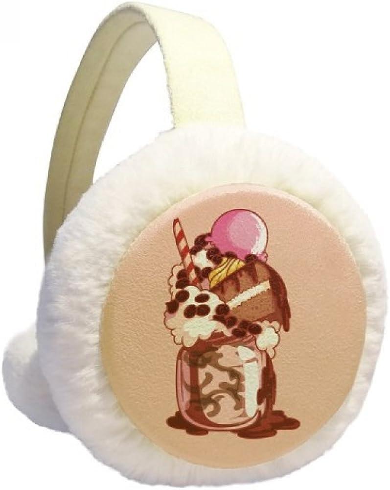 Cake Biscuit Cream Chocolate Ice Cream Winter Ear Warmer Cable Knit Furry Fleece Earmuff Outdoor