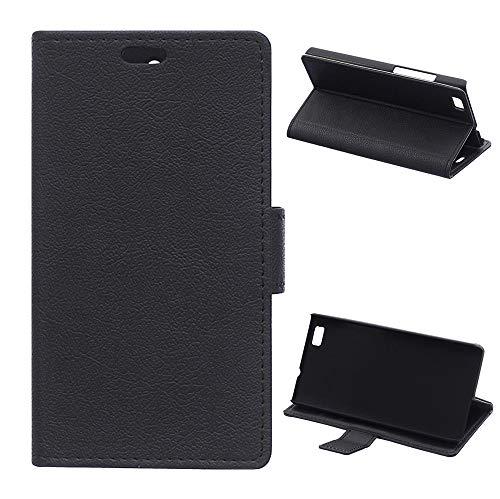 KATUMO - Funda de piel sintética con tapa para Huawei P8 Lite y Huawei ALE-L21 con ranuras para tarjetas de crédito, color negro