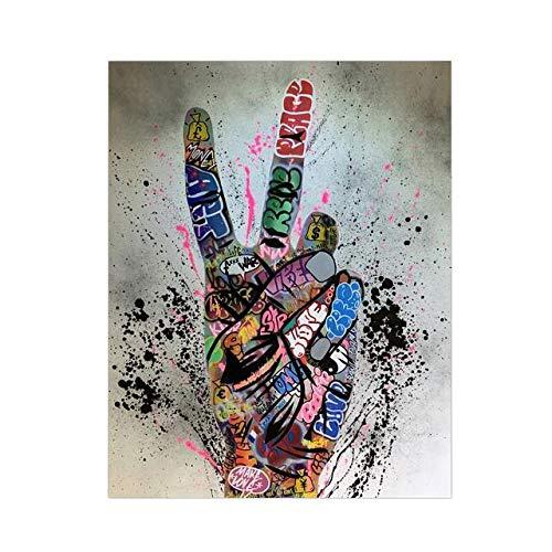 oioiu Street Graffiti Art Canvas Painting Lover Hand Art Carteles e Impresiones de Pared inspirados Cuadros de Arte para la decoración de la Sala de Estar
