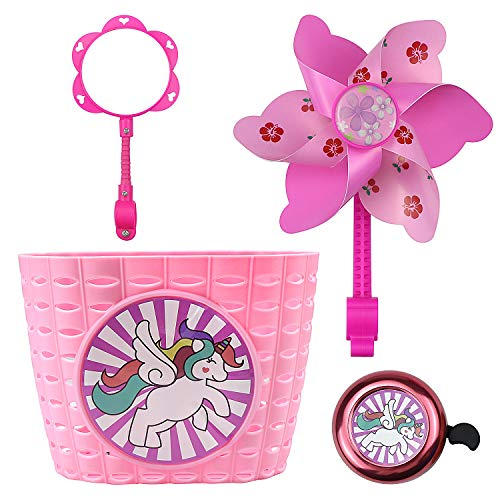 Youfeel Bicycle Decorations and Accessories Kit Including Pink Basket,Rear View Mirror,Bike Bell, Handlebar Streamers&Colorful Stars Stickers for Kid Girls (Updated Version)
