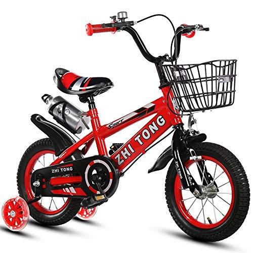 Bici per Bambini Freestyle per Ragazzi E Ragazze, 12 14 16 Bici da 18 Pollici con Ruote da Allenamento E Cestino, 95% Assemblato,Rosso,18inch