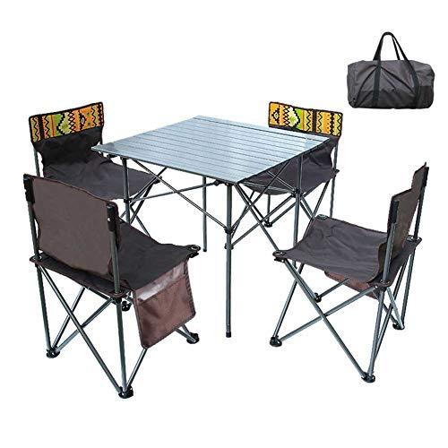 WZP-Mesa para Acampada 52X52x50cm Incl 4 Taburetes Plegable Portátil,por Excursionismo Playa Jardín Picnic,Aleación De Aluminio
