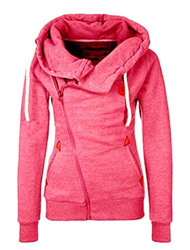 Damen Hoodie Reißverschluss Langärmelige Kapuzenpullover Sweatshirt Sweatjacke Kapuzenjacke Frühling Herbst Sweatshirt Oberteil Pullover (Rosa, EU 38)