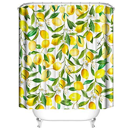 NIBESSER Duschvorhang 180x200 und 180x180 Duschvorhang-Anti-Schimmel-Wasserabweisend-Duschvorhangringen 12 Shower Curtain mit 3D Digitaldruck Grüne Pflanzen (Zitrone 180 * 180cm)