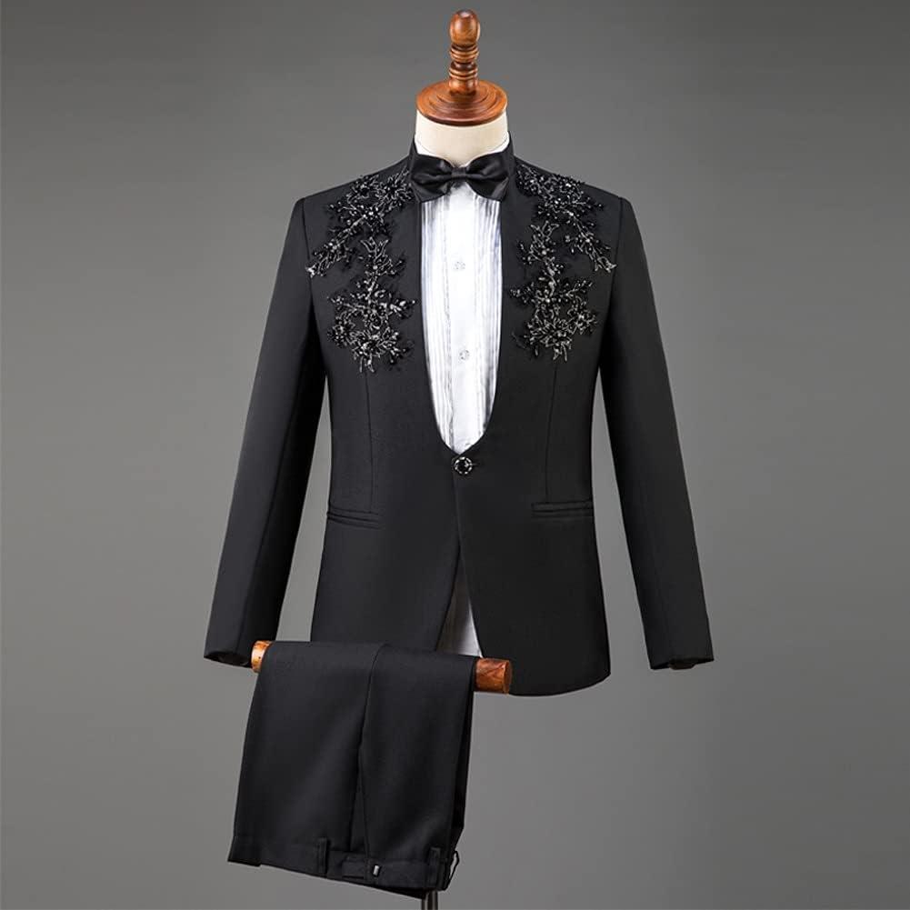 SLATIOM Suits for Men Tuxedo Men Suit Set Fashion Party Mens Suits with Pants Homme (Color : Black, Size : Asian XL)