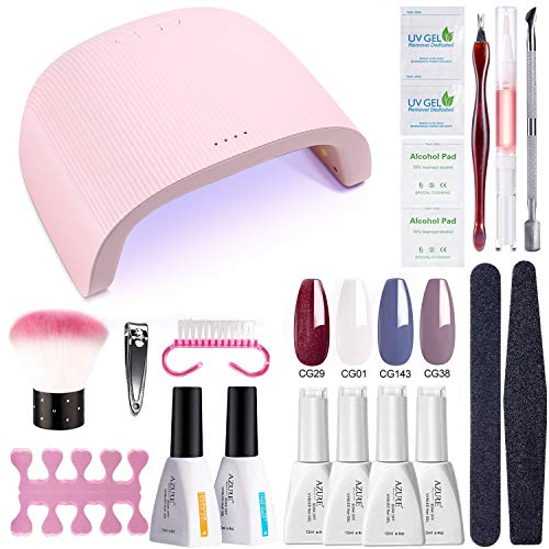 AZUREBEAUTY Gel Nail Polish Starter Kit with 48W UV LED Lamp