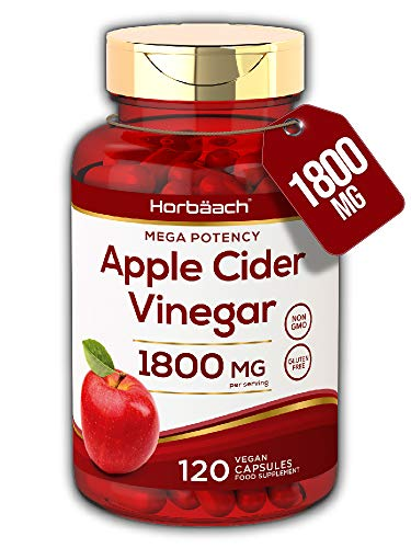 Apple Cider Vinegar 1800mg | 120 Vegan Capsules | High Strength, Keto Diet Friendly | Non-GMO, Gluten Free Supplement