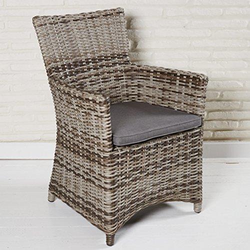 Wholesaler GmbH Poly Rattan Gartenmöbel Armlehnstuhl Sevilla Gartenstuhl für die Terrasse oder Garten - Gartensessel in braun mit Rückenlehne und Kissen