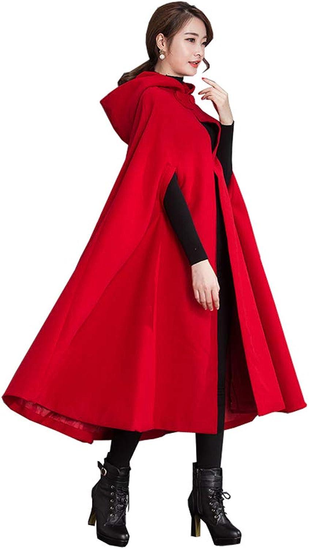 Yimidear Winter Coat for Women Warm Cloak with Hood Wool Blend Poncho Coat Cape Jacket