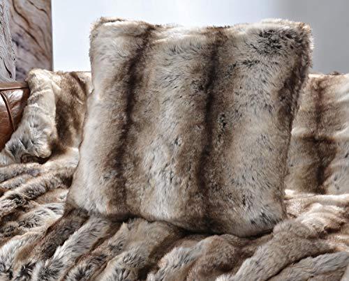 Wohnen & Accessoires noble coussin haut de gamme en fausse fourrure de loup gris/marron 45 x 45 cm