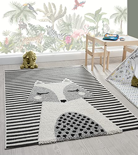 the carpet Lou Weicher Kuscheliger Kinderteppich, Weicher Kuschel-Flor, Pflegeleicht, Farbecht, 3D Optik, Fuchs Motiv, Beige, 120 x 170 cm