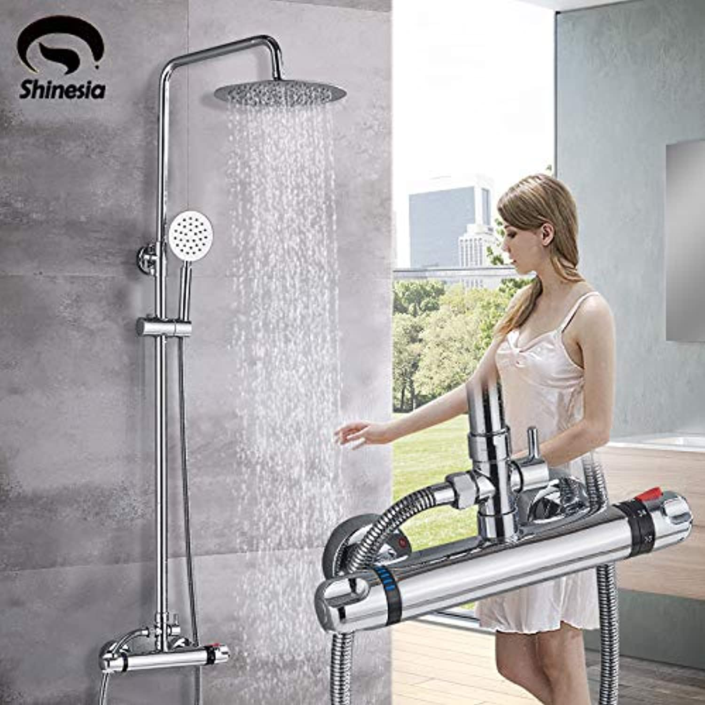 SS-Duschset, Multifunktions-Thermostat-Duschsystem, moderne Chrom-Badewanne, Duscharmatur mit Regendusche zur Wandmontage, Handbrause, Duschkopf mit Wasserhahn, Chrom-Finish, Rostschutz
