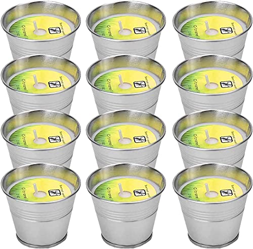 Citronella Candles Outdoors, Aottom 12 Pack Natural Soy Wax Citronella Lemon Candles, 120-180 Burning Hours Portable Soy Tealight Candles for Garden,Travel, Camping, Party, Patio,Yoga