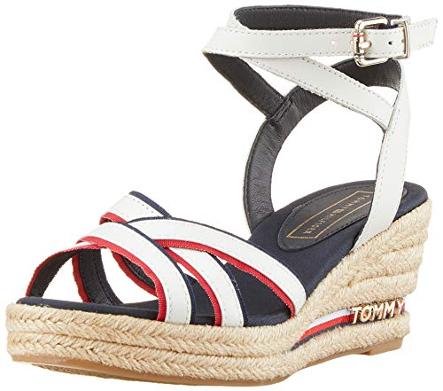 Tommy Hilfiger Damen ICONIC ELBA CORPORATE RIBBON Plateausandalen, Rot (Rwb 020), 39 EU