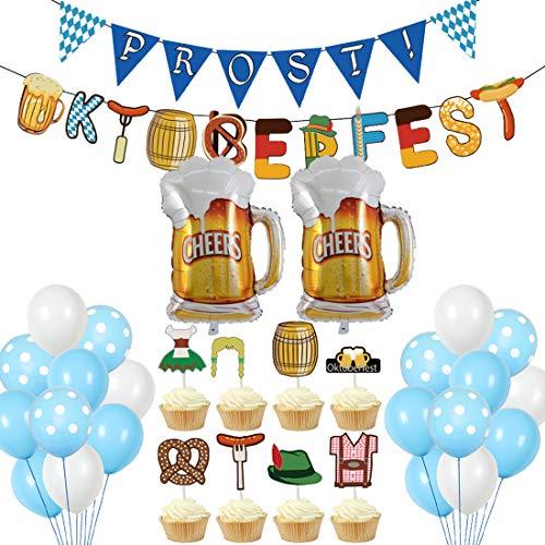 Oktoberfest Party Decorations Set YUESEN Globos Decoración Cumpleaños 31pcs Party Supplies Globo de Látex de Aluminio Pancarta Colgante Cumpleaños de Fiesta Temática de Niño