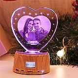 Personalisiertes Herz Nachtlicht 3D Kristalllampe Benutzerdefiniertes Foto Bild Graviert Led Light 7 Farbe mit Bluetooth Holzbasis Personalisiertes Geschenk für Frauen Familiendekoration