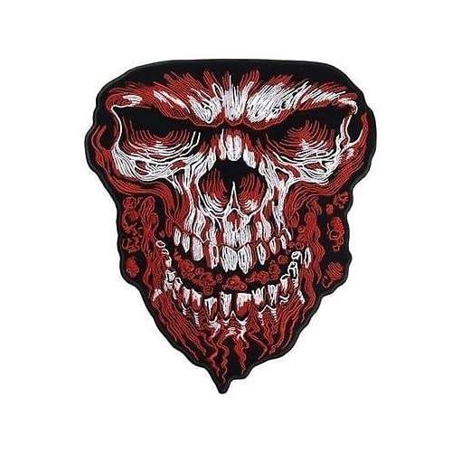 27f0281c75eb1 GIANT RED SKULL SCARY MC Club LARGE 8 x 10 LARGE BIKER BACK Vest Patch LRG