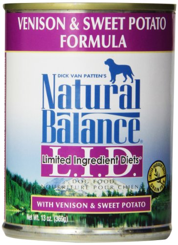 Natural Balance L.I.D. Limited Ingredient Diets Canned Wet Dog Food, Grain Free, Venison And Sweet Potato Formula, 13-Ounce (Pack Of 12)