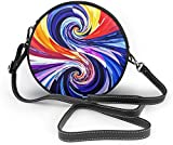 Bolso redondo mujer Colorful Spiral Women Soft Leather Round Shoulder Bag Zipper Circle Purses Sling Bag