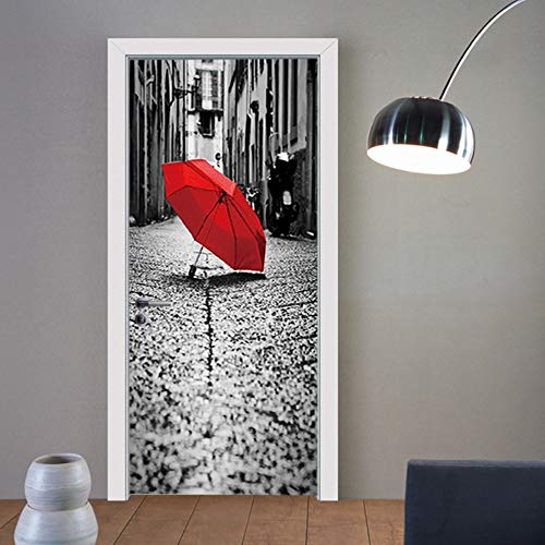 Deurstickers, deurstickers, 3D, paraplu, rood, knutselen, behang, decoratief, vinyl, zelfklevend, waterdicht, 77 x 200 cm, afneembaar