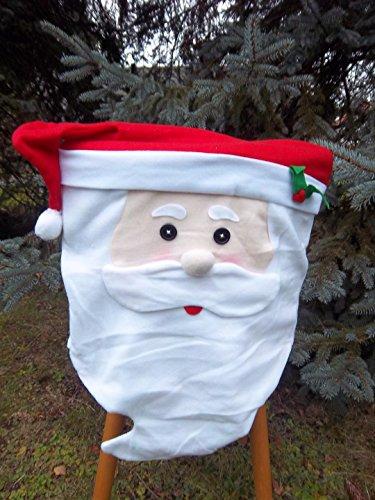 2 Motiv-Weihnachtsmann-Stuhl-Husse-Set Stuhlhusse,Weihnacht-Nikolaus-Mütze,Weihnachts-Deko-Fest-Tags-Schmuck vom Sachsen Versand