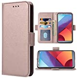 Phone Case forLG G6 Folio Flip Wallet Case,PU Leather Credit Card Holder Slots Heavy Duty Full Body Protection Kickstand Protective Phone Cover for LGG6 ThinQ LG6 Thin Q G 6 Plus G6+ 6G Rose Gold