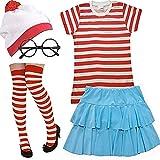 Islander Fashions Ladies Red White Stripe Top Bobble Hat Gafas Calcetines Conjunto de Falda para Mujer Disfraz Disfraz Mediano/Grande