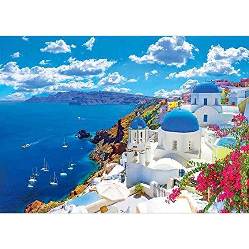 MXJSUA 5D DIY Diamantmalerei, Malerei nach Anzahl Kits für Erwachsene Santorini Aegean Sea Craft Supplies Kreuzstich Home Decoration für Wohnzimmer oder Schlafzimmer 5D Strass Kunst 40x30 cm