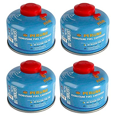 Perune Iso-Butane Camping Fuel Gas Canister All Season Mix - 100gram (4 Pack)