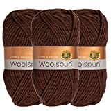 Lion Brand (3 Pack) Woolspun Acrylic & Wool Soft Quarry Print White Gray Yarn for Knitting Crocheting Bulky #5