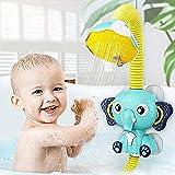 QKFON Juguete de baño de bebé, juguete de aspersor de elefante, cabezal de ducha ajustable de animales, rociador de bañera, rociador de agua, juguete de baño para rociar agua durante más de 12 meses