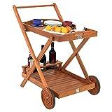 Deuba Servierwagen mit Rollen FSC-zertifiziertes Akazienholz Abnehmbares Tablett 3 Flaschenhalter Küchenwagen Holz