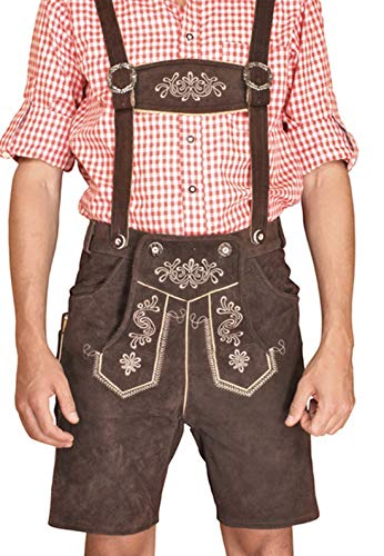 LEDERHOSE kurz braun Trachten leather trousers SMARTPHONE TASCHE Gr 58 KMC2