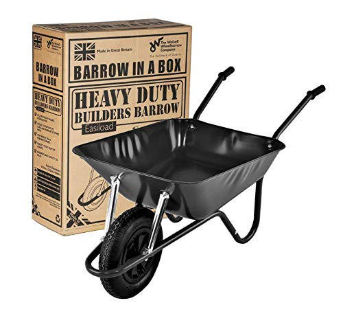 Walsall BEASBP 85L Heavy Duty Easiload Wheelbarrow Builders Barrow Black with Pneumatic Wheel