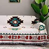 AIVIA Southwestern Aztec Decor Throw Blanket for Home, Cotton Southwest Navajo Native American Tribal Decorative Sofa Cover Wall Hanging Tapestry - Off White Turquoise Burgundy Gold, 70' x 90'